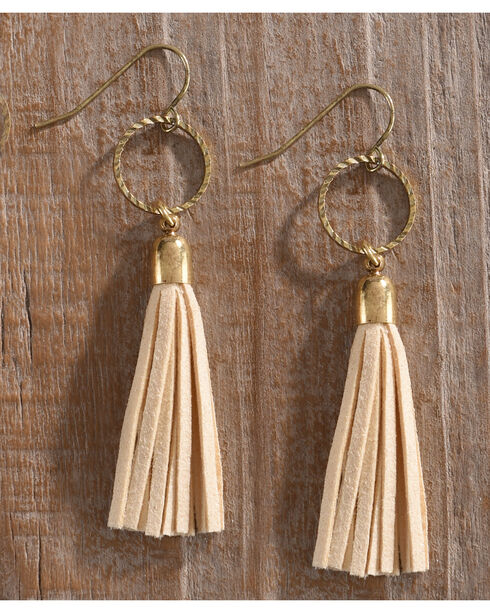 Shyanne Women's Adilene Cream Tassel Earrings , Cream, hi-res