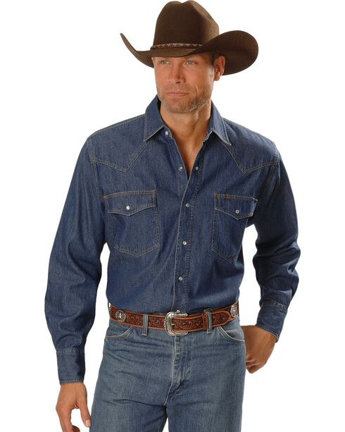 Ely Cattleman Men's Cotton Denim Long Sleeve Work Shirts, Denim, hi-res