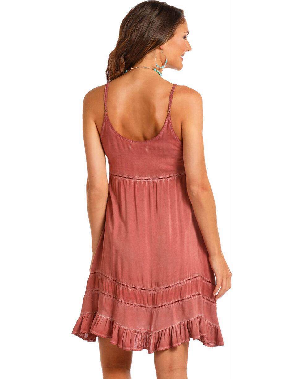 Rock & Roll Cowgirl Women's Spray Wash Ruffle Dress, Mauve, hi-res