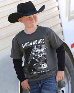 Cinch Boys' Rodeo Life Long Sleeve Tee, Grey, hi-res