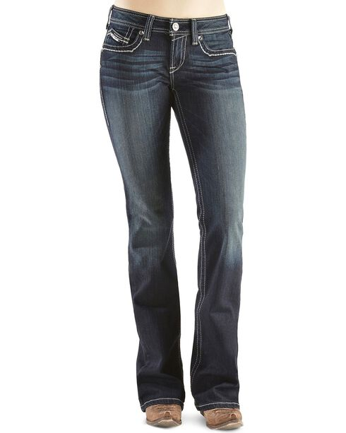 Ariat Women's Turquoise Mid Rise Boots Cut Jeans, Denim, hi-res