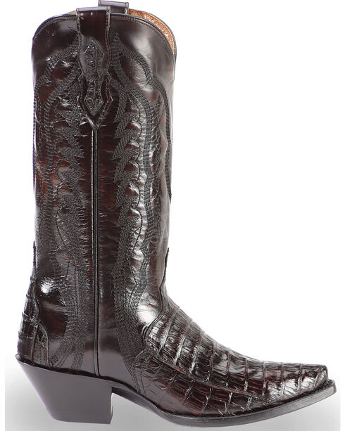 Dan Post Women's Caiman Belly Triad Cowgirl Boots - Snip Toe, Black Cherry, hi-res