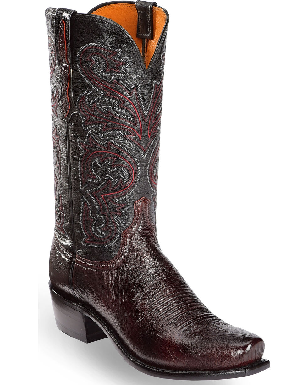 Lucchese Men's Handmade Black Cherry Nathan Smooth Ostrich Western Boots - Square Toe , Black Cherry, hi-res