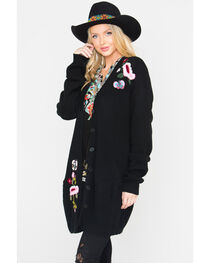 Miss Me Women's Black Floral Embroidered Sweater , , hi-res