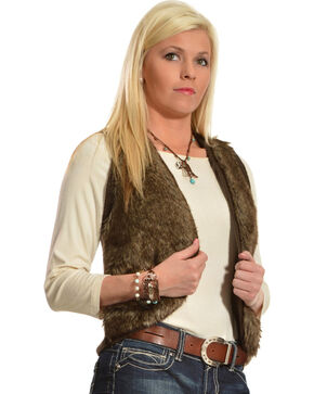 Ariat Emma Fur Vest, Brown, hi-res