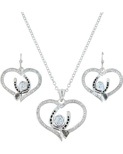 Montana Silversmiths Blacksmith's Treasure Heart Jewelry Set , Silver, hi-res