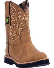 John Deere Boys' Steel Shank Western Boots - Round Toe , , hi-res