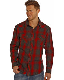 Rock and Roll Cowboy Men's Distressed Plaid Long Sleeve Shirt, , hi-res