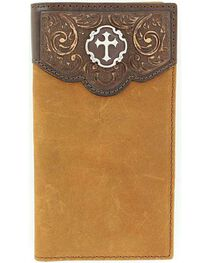 Nocona Tooled Leather Overlay Cross Concho Wallet, , hi-res