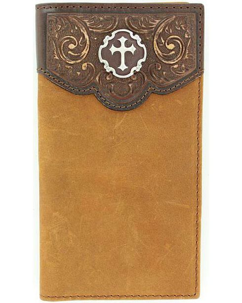 Nocona Tooled Leather Overlay Cross Concho Wallet, Brown, hi-res