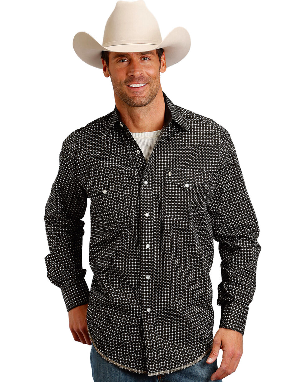 Stetson Men's Black Graphic Print Snap Western Shirt, Black, hi-res