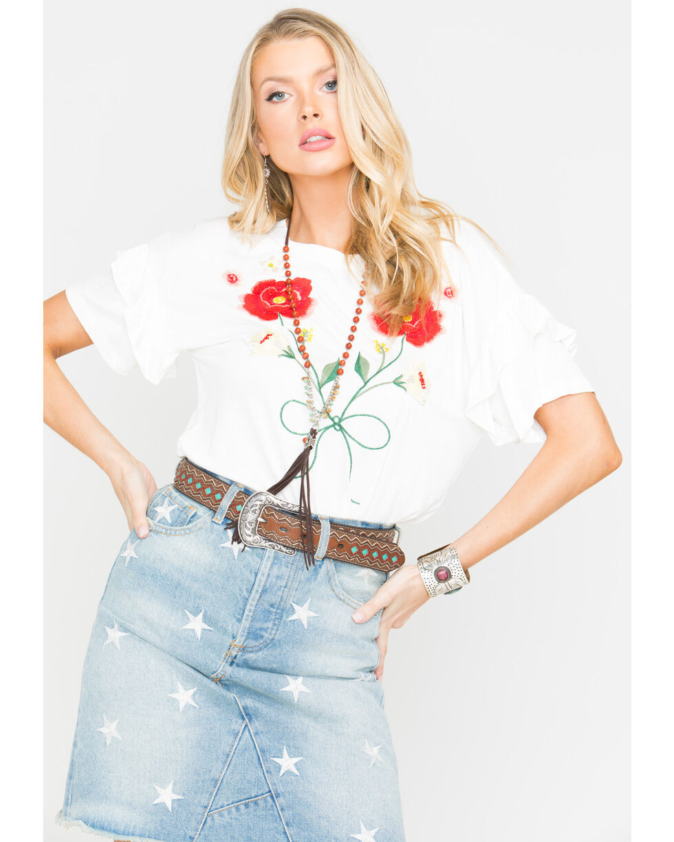 Miss Me Women's Blooming Creations Top, White, hi-res