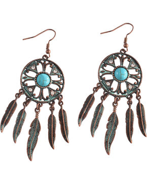 Shyanne Dream Catcher Statement Earrings, Turquoise, hi-res