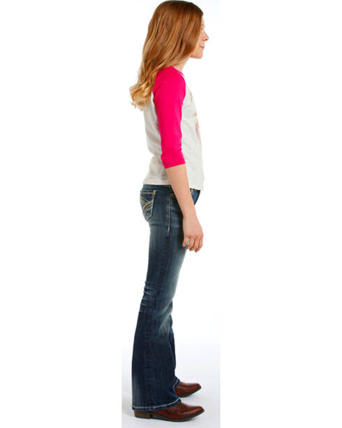Rock & Roll Cowgirl Girls' Faded Jeans - Boot Cut , Indigo, hi-res