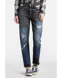 MM Vintage Women's Black Aztec Patchwork Boyfriend Jeans - Straight Leg , , hi-res