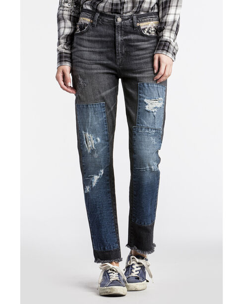 MM Vintage Women's Black Aztec Patchwork Boyfriend Jeans - Straight Leg , Black, hi-res