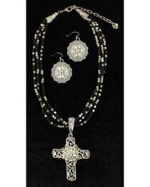 Blazin Roxx Multi-Strand Cross Pendant Necklace & Earrings Set, , hi-res