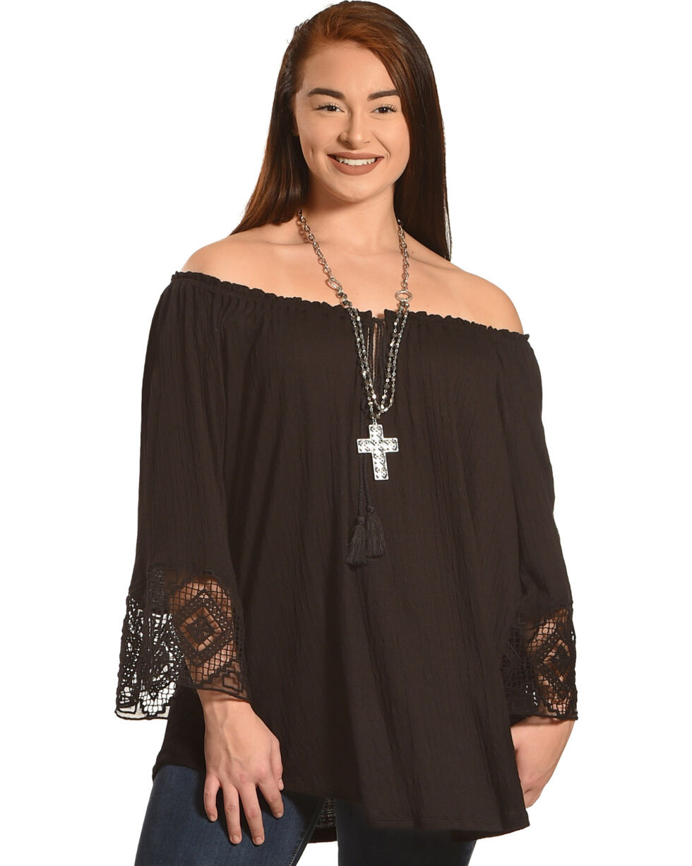 Eyeshadow Women's Black Lace Trim Bell Sleeve Peasant Blouse - Plus , Black, hi-res