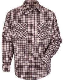 Bulwark Men's Burgundy Plaid Flame Resistant Uniform Shirt - Big & Tall , , hi-res