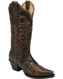 Corral Women's Whip Stitch & Studs Western Boots, , hi-res