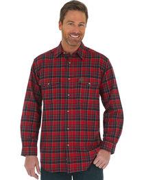 Wrangler Riggs Workwear Men's Heavy Flannel Button Down Plaid Shirt, , hi-res
