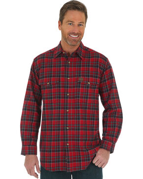 Wrangler Riggs Workwear Men's Heavy Flannel Button Down Plaid Shirt, Red, hi-res