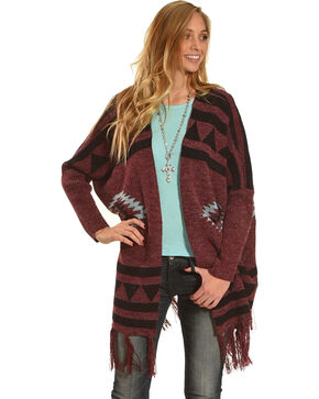 Angel Premium Women's Fringe Trim Open Front Cardigan, Wine, hi-res