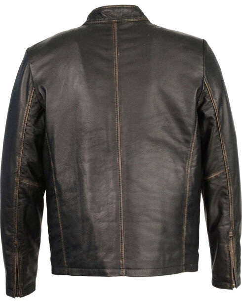 Milwaukee Leather Men's Brown Sheepskin Moto Racer Jacket - Big 4X, Black, hi-res