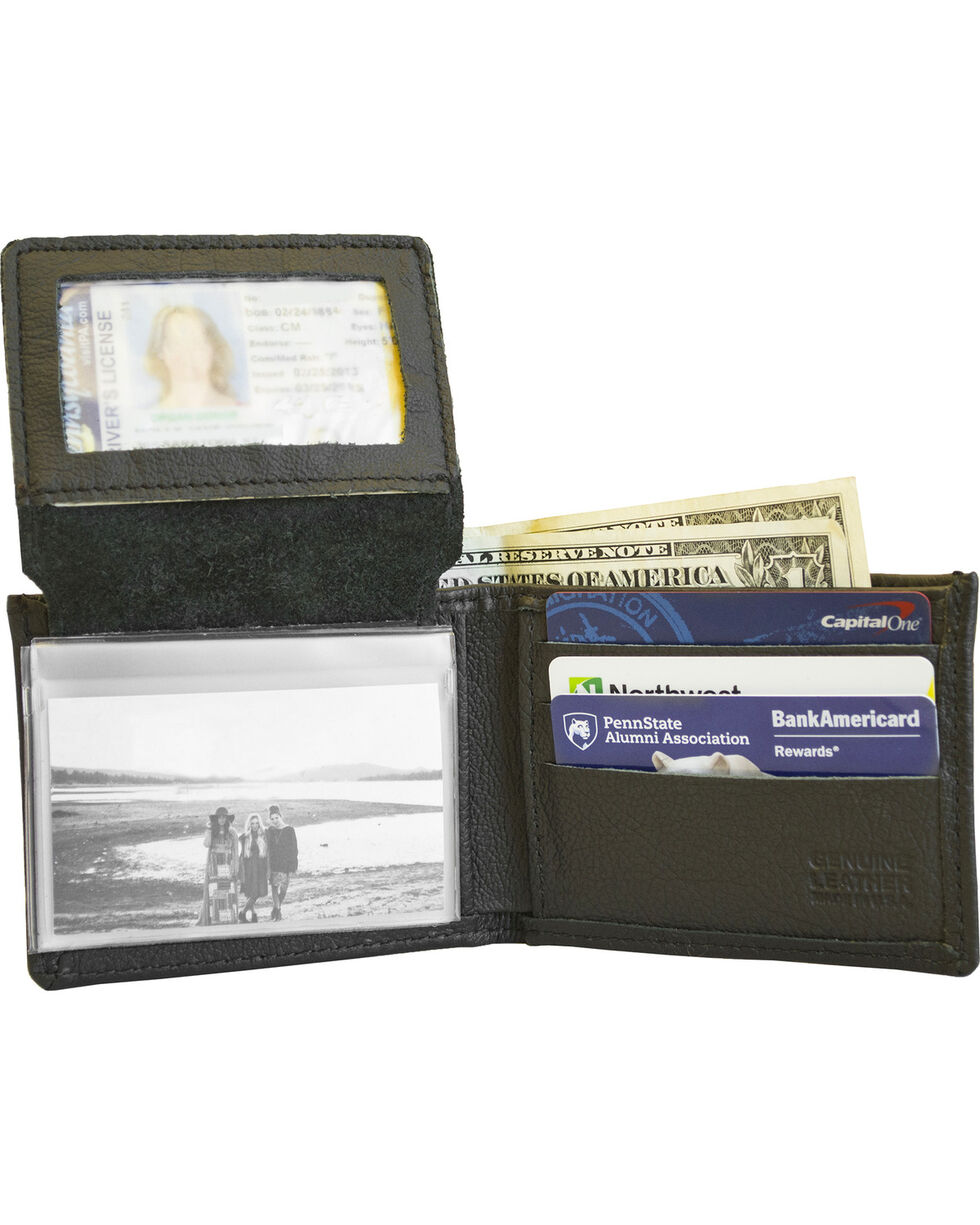 Western Express Men's Black Cross Gun Leather Wallet , Black, hi-res