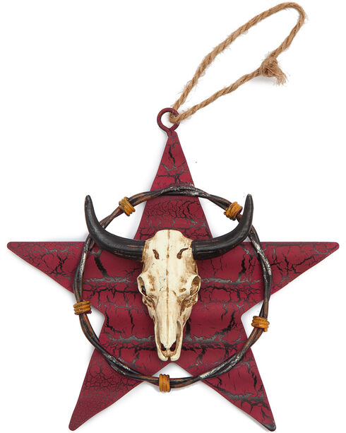 BB Ranch Metal Star and Cow Skull Ornament, No Color, hi-res