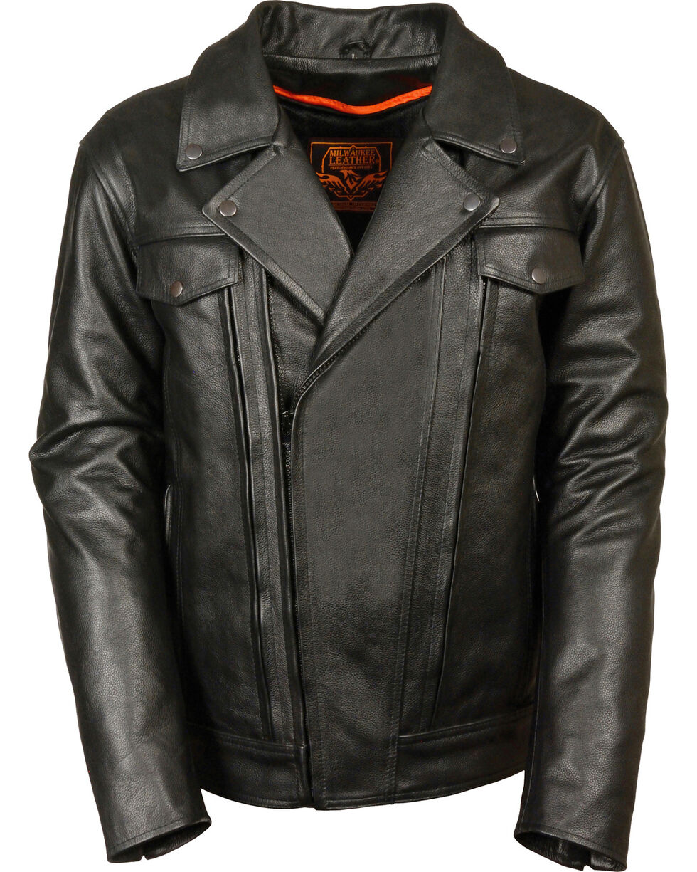 Milwaukee Leather Men's High End Utility Pocket Vented Cruiser Jacket - 5X, Black, hi-res