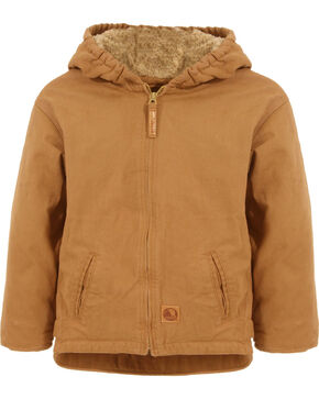 Berne Youth Boys' Washed Sherpa-Lined Hooded Jacket, Brown, hi-res