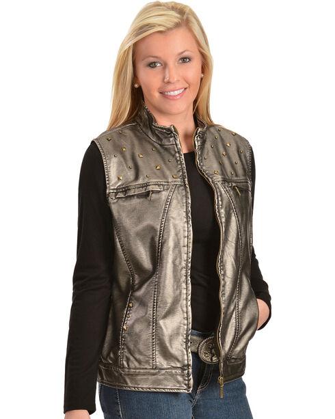 Erin London Women's Platinum Faux Leather Rubbed Vest, Grey, hi-res