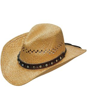 Blazin Roxx Flower Rhinestones Hat Band Raffia Straw Cowgirl Hat, Natural, hi-res