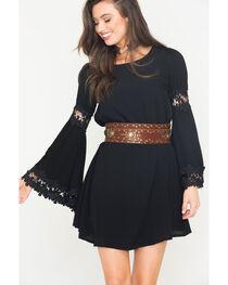 Blush Noir Women's Black Flared Sleeve Dress , , hi-res