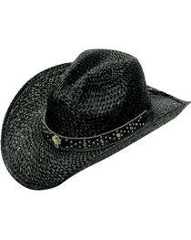 Blazin Roxx Bedecked Hat Band Black Raffia Straw Cowgirl Hat, , hi-res