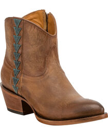 Lucchese Women's Chloe Tan Goat Leather Geometric Overlay Western Booties - Round Toe, , hi-res