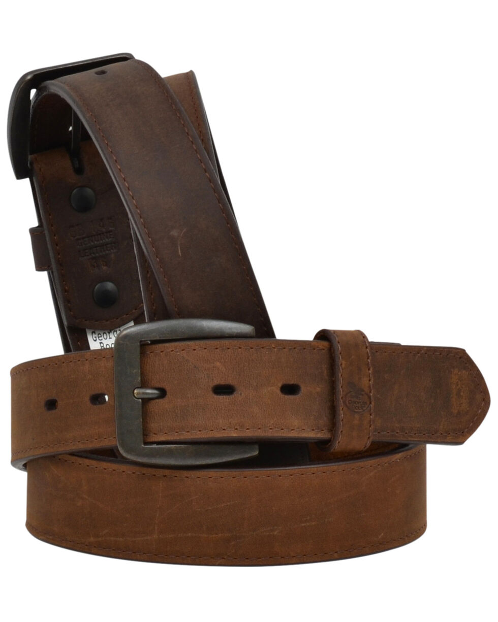 Georgia Men's Dark Brown Pebble Flat Edge Work Belt, Brown, hi-res