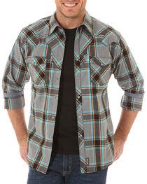 Wrangler Retro Men's Border Plaid Long Sleeve Shirt, Grey, hi-res