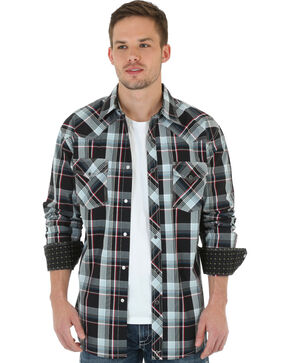 Wrangler 20X Plaid Snap Long Sleeve Shirt, Black, hi-res