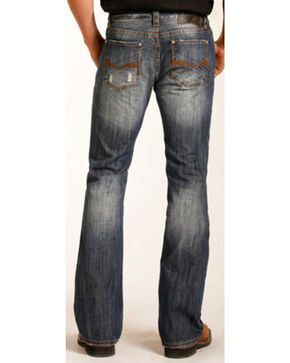 "Rock & Roll Cowboy Men's Large ""V"" Pistol Boot Cut Jeans, Indigo, hi-res"