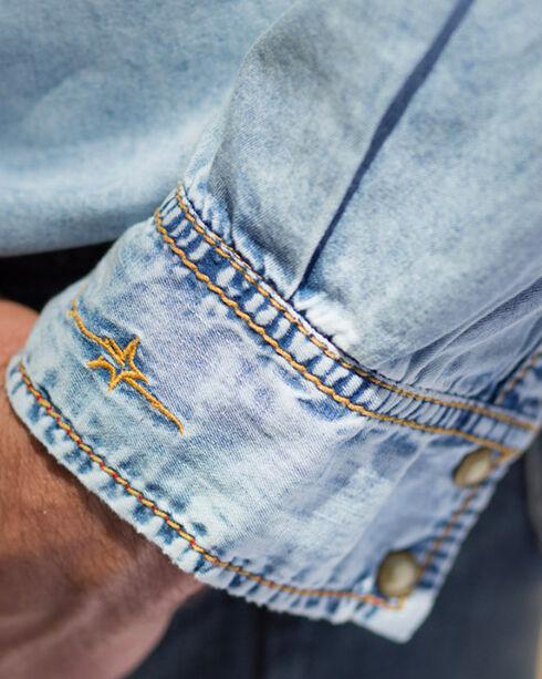 Ryan Michael Men's Indigo Sun Washed Embroidered Denim Shirt, Indigo, hi-res