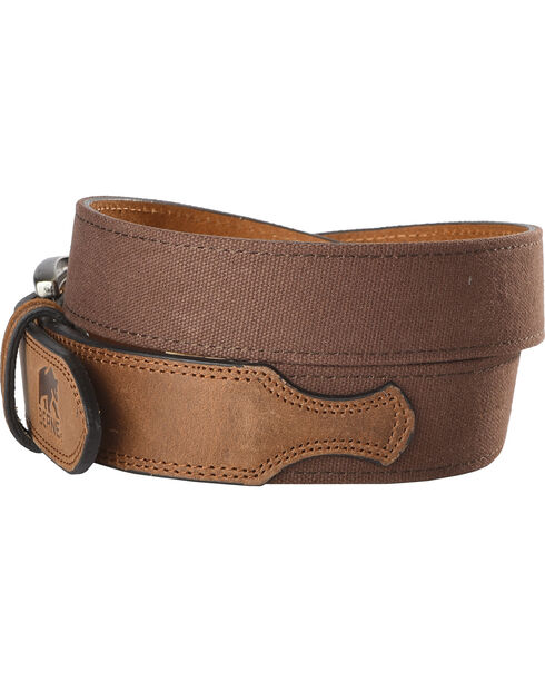 Berne Men's Canvas Strap Leather Belt , Brown, hi-res