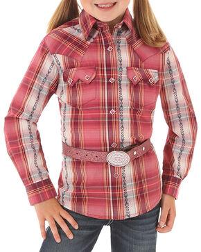 Wrangler Girls' Plaid Long Sleeve Western Shirt, Pink, hi-res