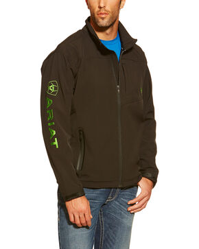 Ariat Men's Vernon Lime Logo Softshell Jacket, Black, hi-res