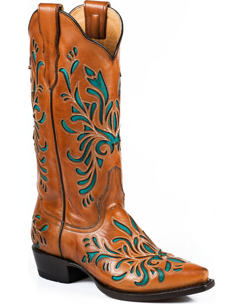Stetson Women's Amber Burnished Western Boots, Orange, hi-res