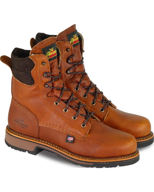 "Thorogood Men's 8"" American Heritage Classics Work Boots - Soft Toe, Brown, hi-res"