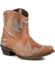 Roper Women's Phoenix Tan Embroidered Short Western Boots - Snip Toe, , hi-res