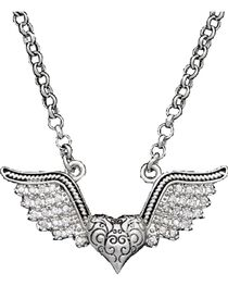 Montana Silversmiths Women's Winged Heart Necklace, , hi-res
