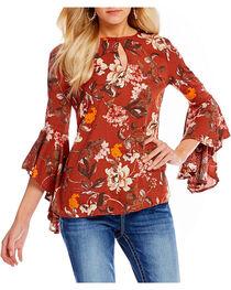 Miss Me Women's Floral Print Bell Sleeve Peasant Top, , hi-res